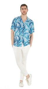 Hawaii-Hangover-Men-039-s-Hawaiian-Shirt-Aloha-Shirt-Simply-Blue-Leaves