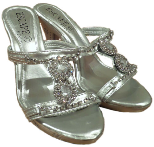 Escape Silver Dazzle High heel flip flop sandal