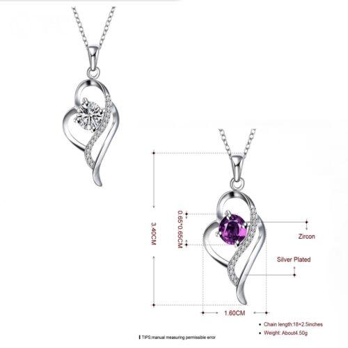 Para mujer 925 Plata Corazón Colgante Collar Cadena Joyería De Onda Conjunto de Regalo UK