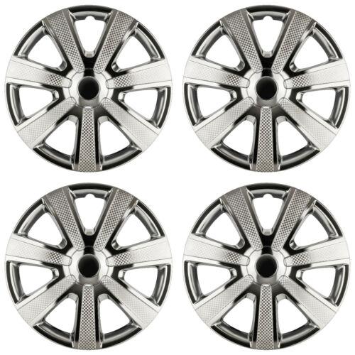 4 x Radkappen 16 Zoll schwarz chrom Radblende für Stahlfelgen für VW 85BC