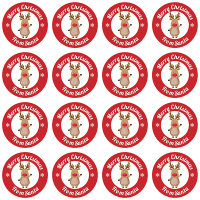 CHC01 24x 40x35mm Santa Merry Christmas Personalised Present Stickers//Labels