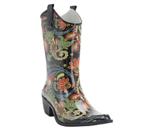 96d435af3af Details about Corkys Womens Rodeo Paisley Cowboy Boot Style Rain Boots Size  8