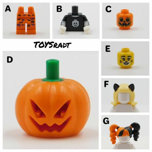LEGO LEGS TORSOS HEADS PUMPKINS PIGTAILS CAT FACE HALLOWEEN PLEASE READ BELOW