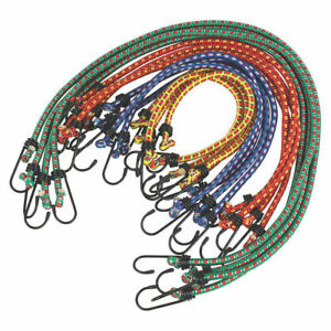 12x Bungee Cords Wires with Hooks Cables Straps Bungie Elastic Rope Luggage Tie