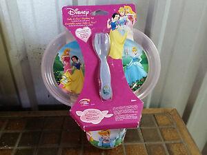 DISNEY PRINCESS SET OF 5 FEEDING SET PLATE BOWL FORK SPOON CHILDREN KIDS