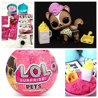 Lot of 2pcs LOL Surprise Doll Pets Skunk Bebe /& Lil Sister Lil Cheer Captain