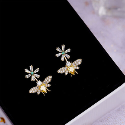 1Pair Women Honey Bee Crystal Flower Bumblebee Earrings Ear Studs Jewelry IT