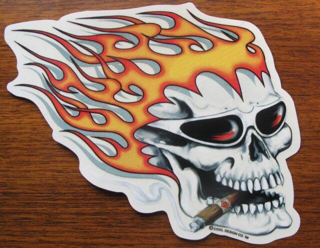 BIG HOT HEAD Skull Decal Hot Rat Rod Sticker * Flames * Muscle Car * Drag Race