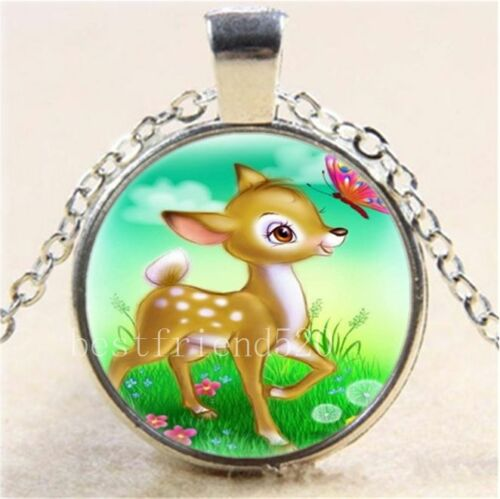 Cartoon Elk /& Butterfly Cabochon Glass Tibet Silver Chain Pendant Necklace