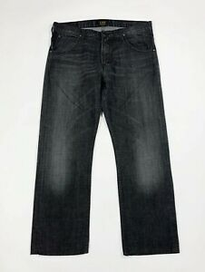 Lee-clark-jeans-uomo-usato-W34-tg-48-denim-gamba-dritta-grigio-comfort-T5972