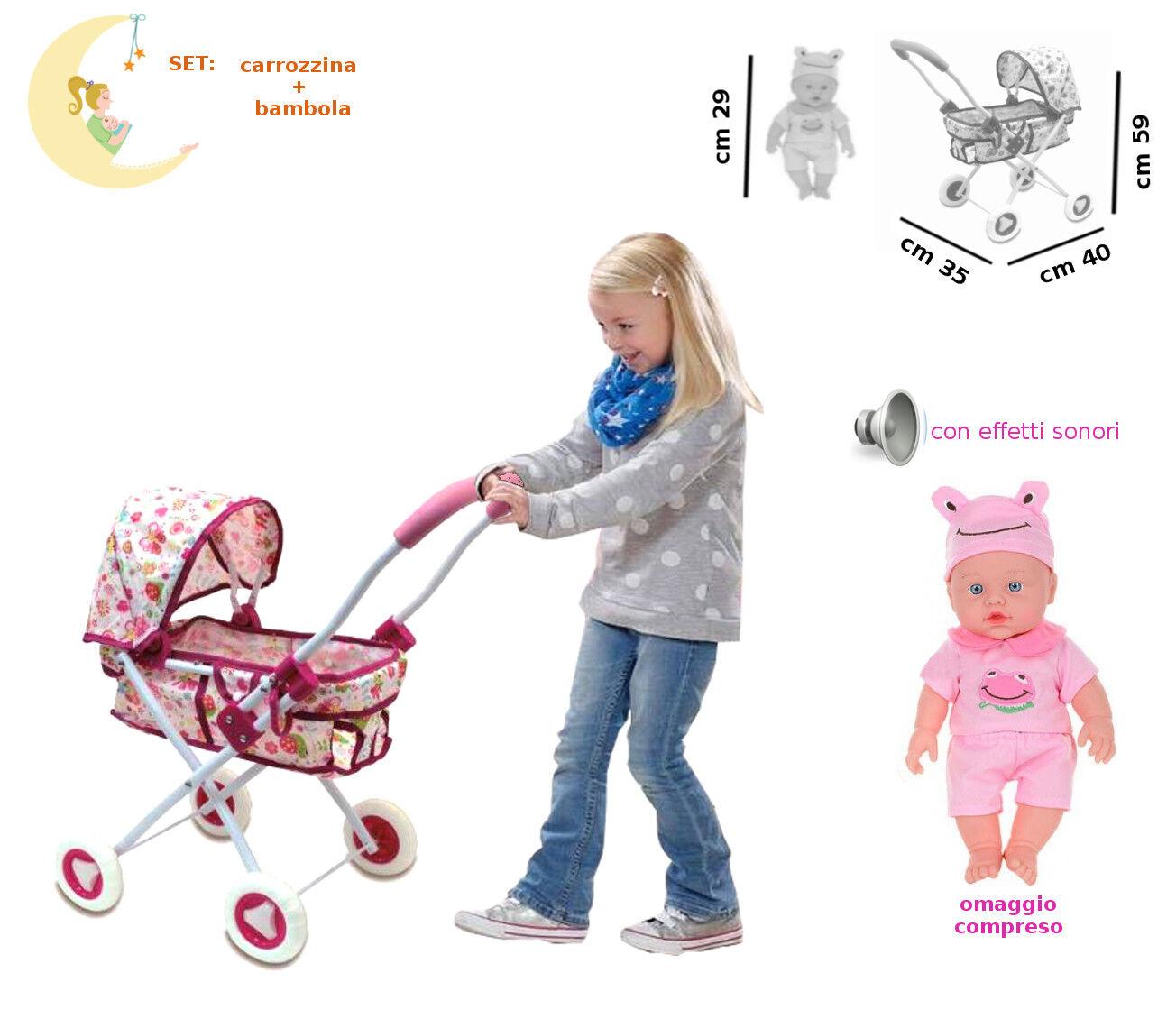 Carrozzina con Bambola Effetti Sonori Giocattolo per Bambole Bambolotti
