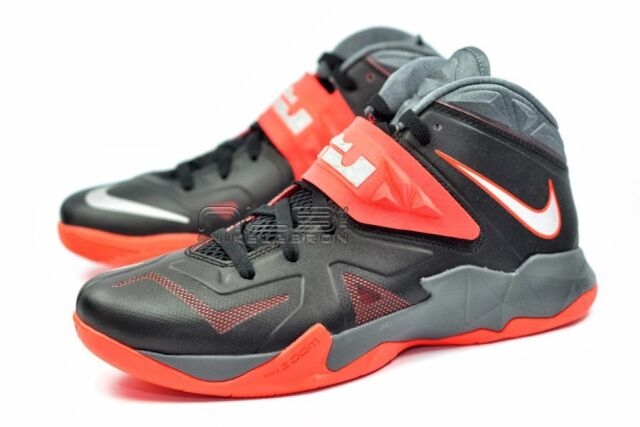 0098c1bf511 NIKE Zoom Soldier VII 599264 003 Lebron Black Red Men s Basketball Shoes ...