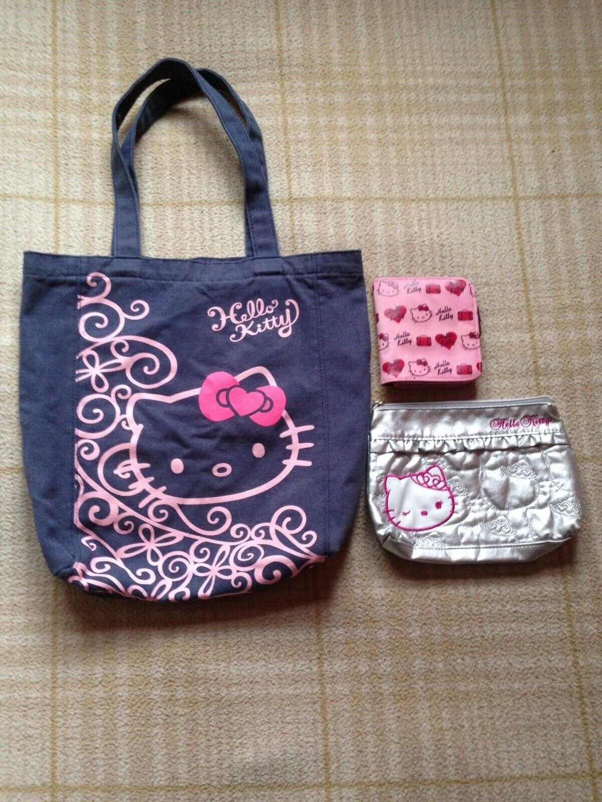 Hello Kitty Blue Canvas Tote Bag Pink Wallet Faux Leather Make Up Bag Bundle