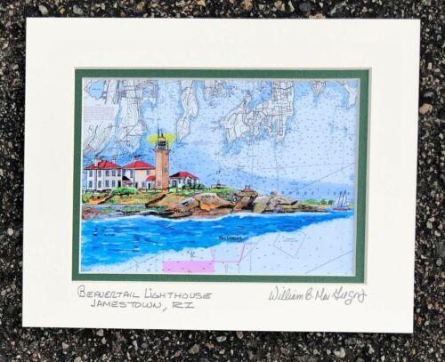 BEAVERTAIL LIGHTHOUSE Art Print  Narragansett Bay Jamestown RI Map Sail boater