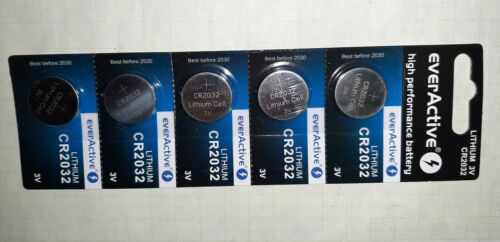 5x CR 2032 3V Lithium Batterie Knopfzelle 220mAh blister min haltbar bis 2030