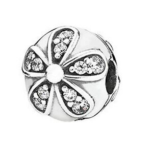 e3522b516 Image is loading Genuine-PANDORA-Silver-Dazzling-Daisies-Clip-Charm -791493CZ-