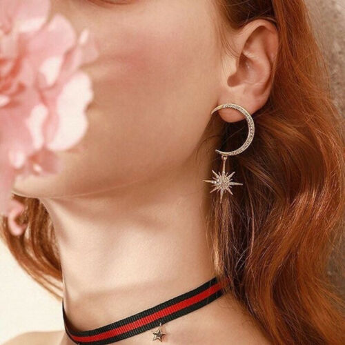 Delicate Moon And Anise Star Stud 925 Silver Crystal Women Earrings Date Jewelry
