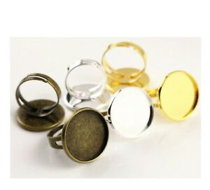 20mm Charm Round Ring Base Setting Cabochon Ring Blank Trays Jewelry Making DIY