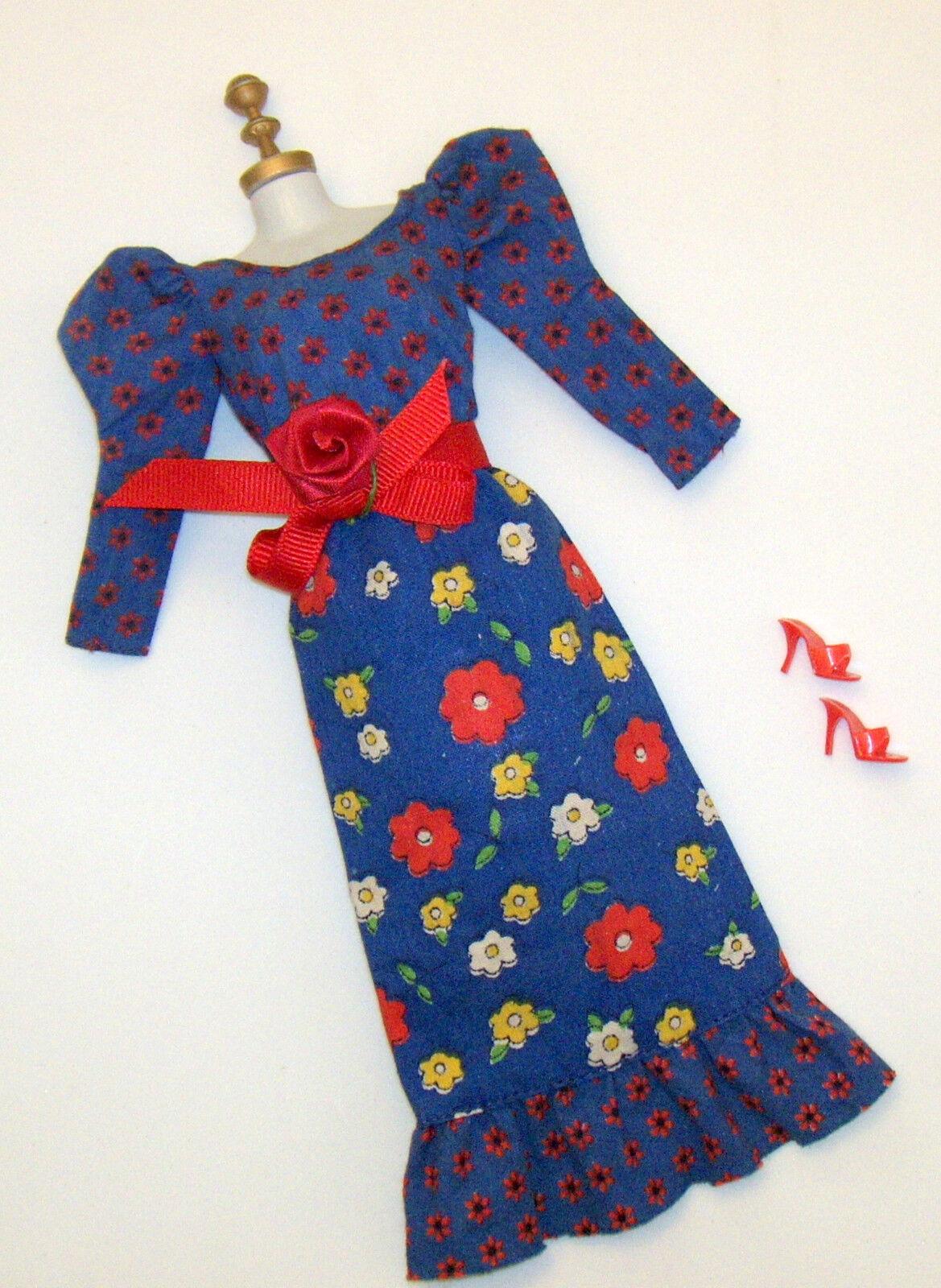 Vintage Barbie-Puppe Blaues Muster Bauer Midi Kleid  3343 Best Buy 1973 Rote