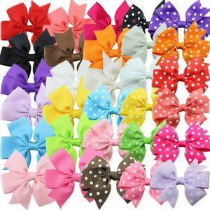 30 Pcs Kids Hair Bows Girls Ribbon Lot 3 Inch Large Alligator Clips Mix Colors Paquet éLéGant Et Robuste