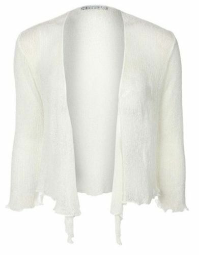 JUSTYOUROUTFIT Womens Ladies Fine Knit Cropped Tie Up Cardigan Stretchy Shrug