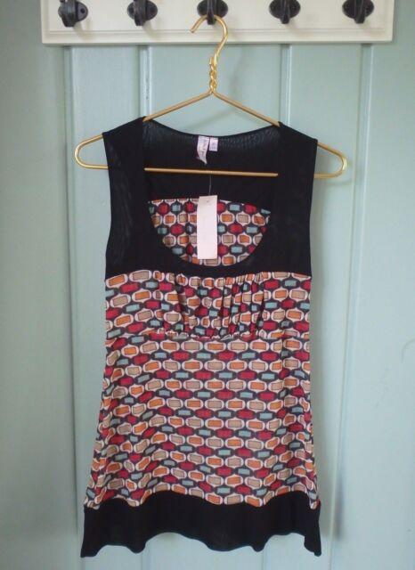 Sweet Pea Stacy Frati Womens Large 12 14 Mesh Print Tank Shirt Anthropologie