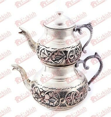 Turkish Teapot Set, Handmade Copper & Handhammered, Tin-Coated Copper, Large