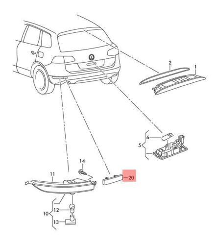 Genuine Rear Light Reflector Right VW Touareg 7P5 7P6945106