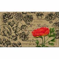 Super Absorbent Vintage Floral Peony Door Mat W/ Shoe Scraping Fibers 18x30
