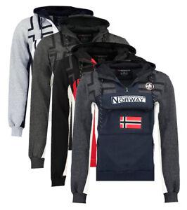 Felpa-GEOGRAPHICAL-NORWAY-Fitakol-Uomo-tascone-cappuccio-manica-lunga-WR545H-GN