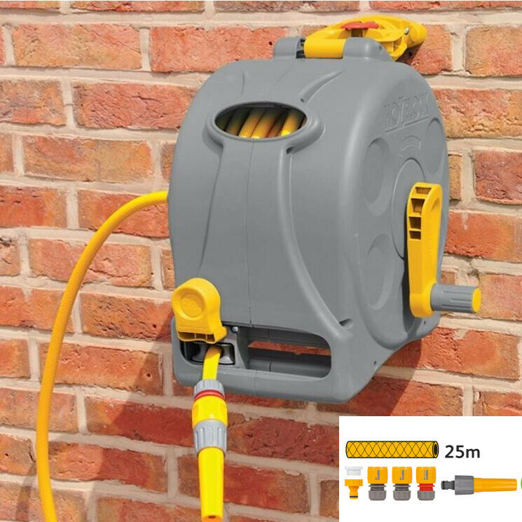 25m Hozelock 2-in-1 Compact Reel with Hose Garden Outdoor Wall Mounted Watering