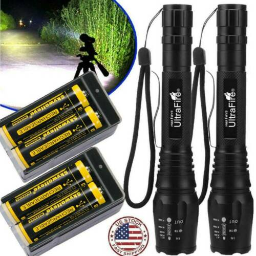 Super Bright Torch Rechargeable 350000Lumen 5 Modes  LED Flashlight Zoom Torch