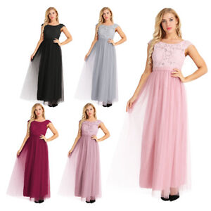 Women-Formal-Long-Dress-Party-Lace-Tulle-Bridesmaid-Dress-Long-Evening-Prom-Gown