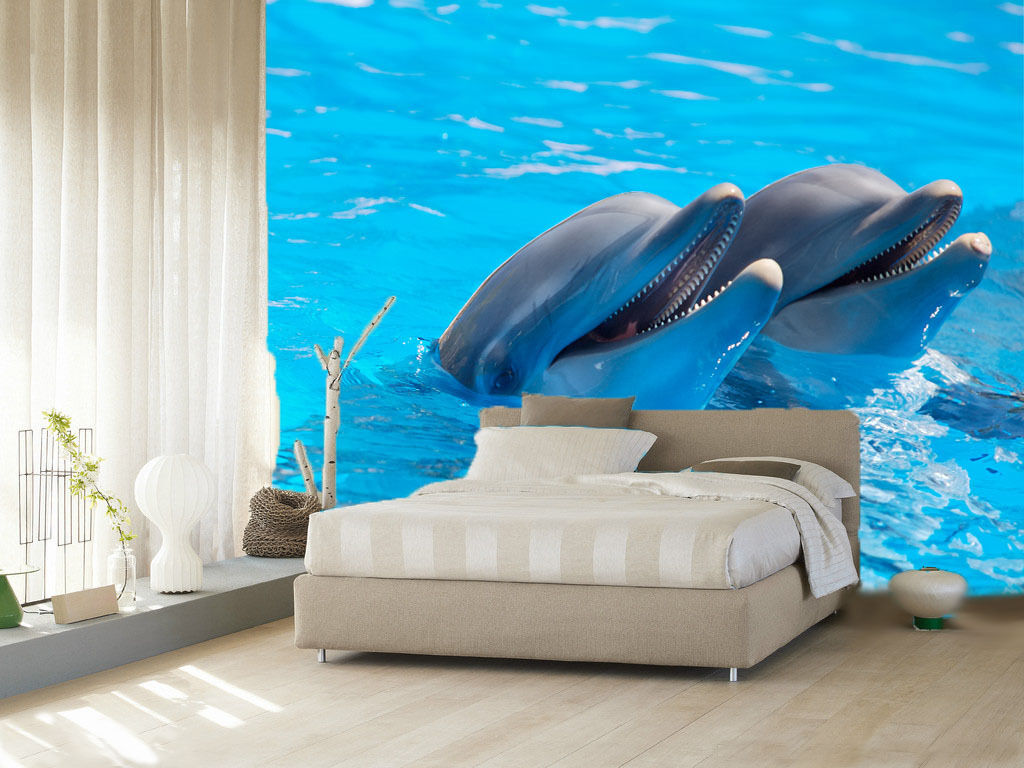 3D Blau Dolphin 1 WallPaper Murals Wall Print Decal Wall Deco AJ WALLPAPER