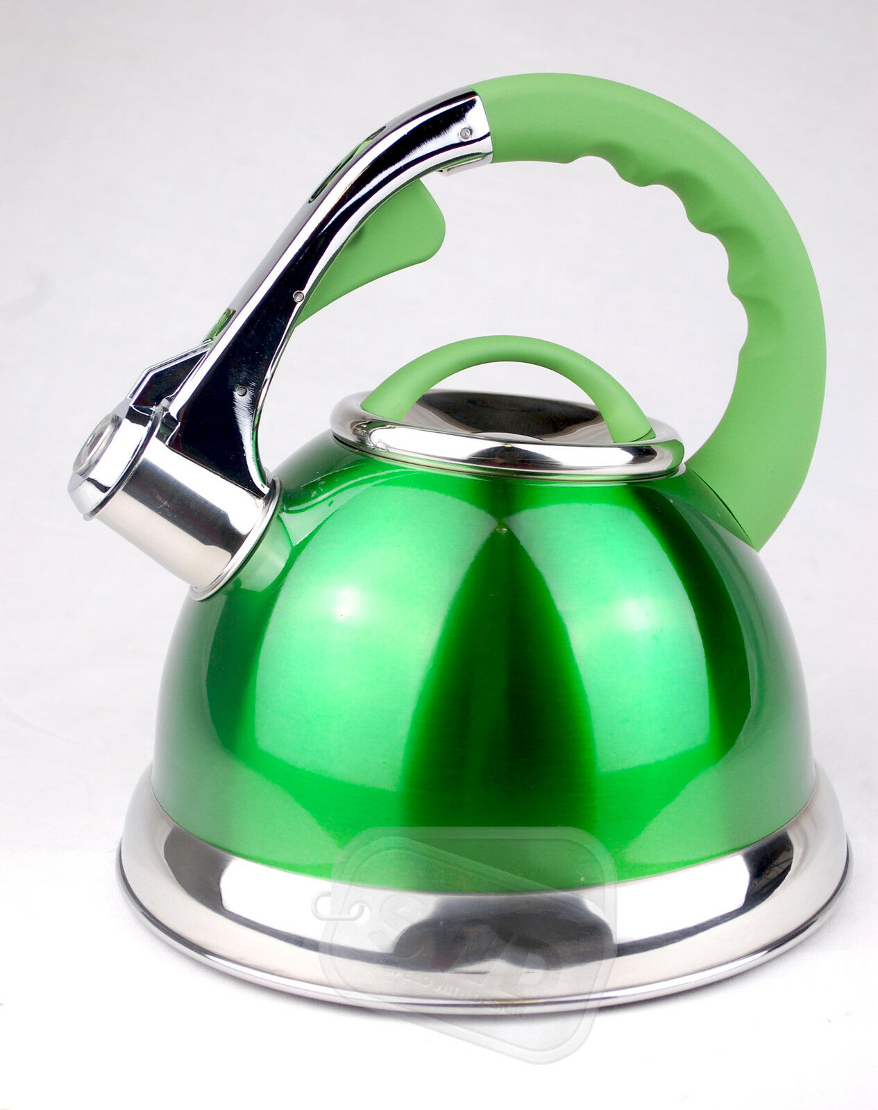 2.5L STAIINLESS STEEL LIGHTWEIGHT WHISTLING KETTLE CAMPING FISHING HOME CORDLESS GREEN