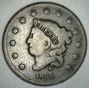 1835 Coronet Large Cent US Copper Type Coin Newcomb Variety N2 Penny Good 1c