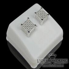 3D MEN'S WHITE GOLD FINISH .15CT GENUINE REAL DIAMOND STUD EARRINGS SCREW BACK