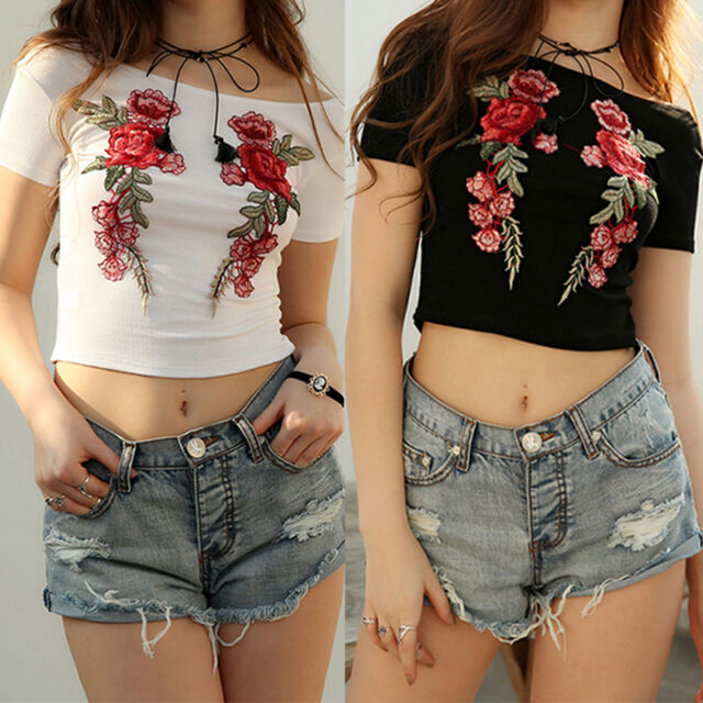Women Backless Casual Floral Blouse Mini Crop Top Short Sleeve Tank Tops Gift.AU