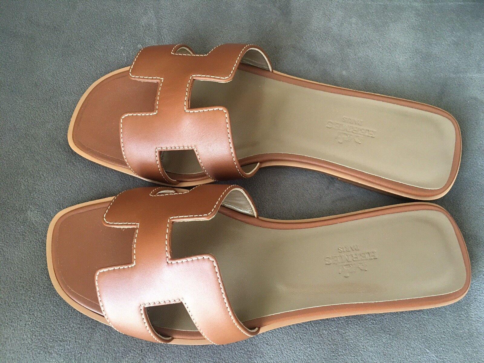 venta Nueva Hermes Hermes Hermes oro Marrón oran Oasis Sandalia Zapatilla 37.5 Zapatos Planos Mocasín  Ahorre 35% - 70% de descuento
