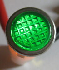 Green With Steel Bezel Panel Mount Round Indicator Light Solico 14v 1 Watt