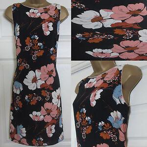 NEW-F-amp-F-Ladies-Floral-Print-Sleeveless-Shift-Summer-Dress-Black-Pink-Sz-6-20