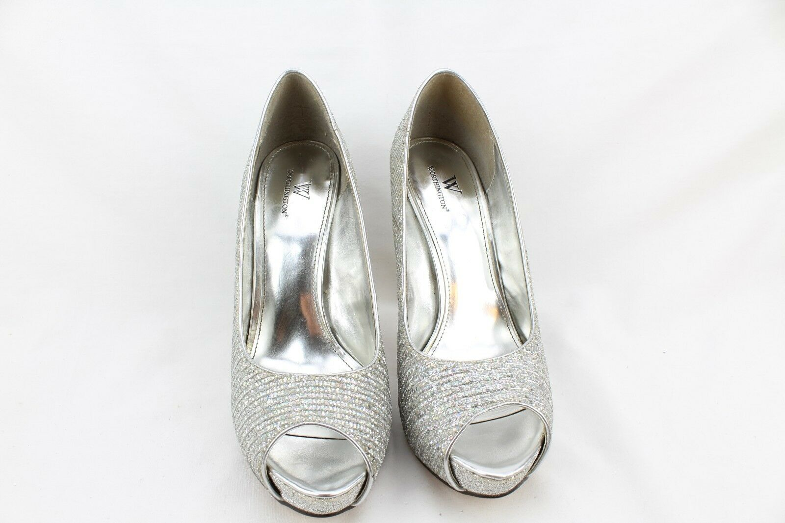 WORTHINGTON Womens Silver Shiny Sparkle Stilleto High Heels Open Toes Size 9.5 M