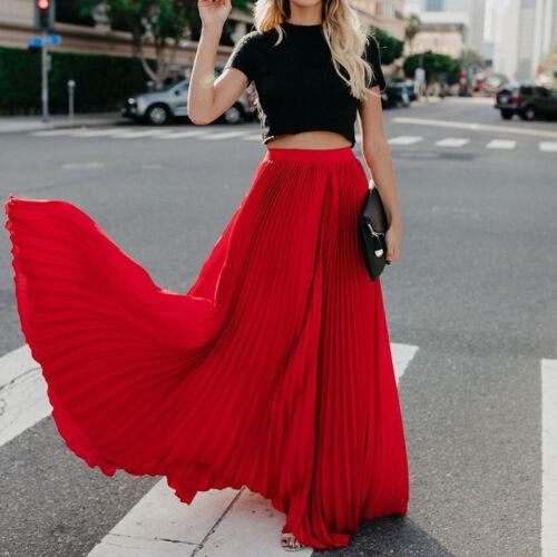 Rétro Femmes en mousseline de soie plissée partie jupe longue robe taille élastique Plage Boho