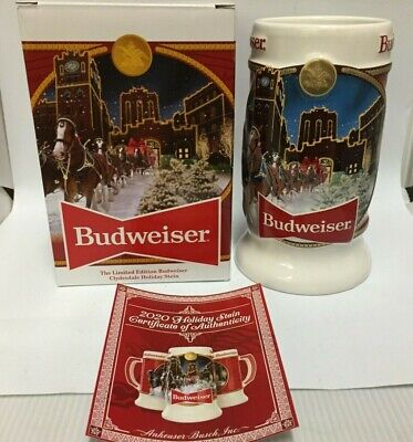 Budweiser 2020 Christmas Stein 2020 Budweiser Holiday stein beer mug from annual Christmas series