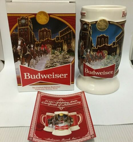 2020 Budweiser Holiday stein beer mug from annual Christmas series BRAND NEW!!