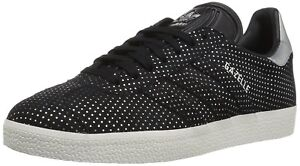 low priced b9abe 3bb44 Image is loading Women-Athletic-Sneakers-Adidas-Originals-Gazelle-Suede- Black-