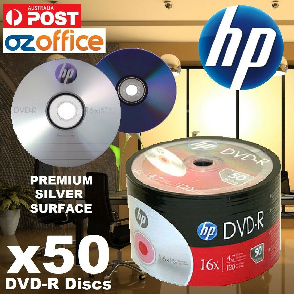 graphic about Printable Dvd Discs titled Information in excess of Quality 50 x HP DVD-R Silver Branded Blank DVD Discs 16X Not Inkjet Printable