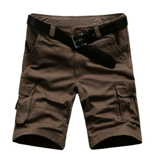 Mens Cotton Blend Cargo Shorts Summer Short Pants Multi Pocket Slacks Outdoor B