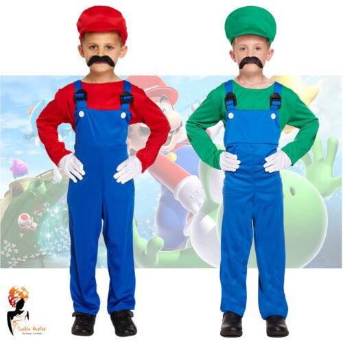 Boys Kids Super Work Man Book Week Children Outfit Plumber Fancy Dress Costume