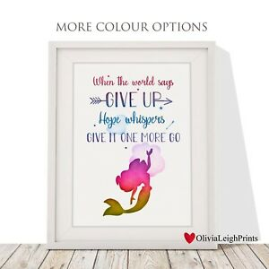 Details about Disney Princess Ariel The Little Mermaid Quote Print  childrens nursery-Wall Art